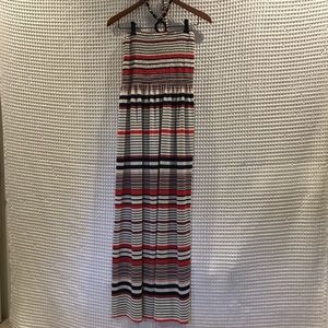Magic maxi halter dress w/ beaded neck tie. Size M